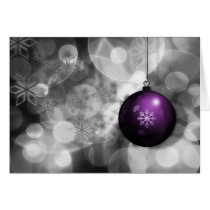 festive silver purple ornament Holiday greetings Card