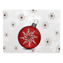 festive silver red Holiday Corporate PostCard