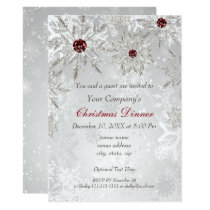 Festive Silver Red Holiday party Invite
