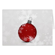 festive silver red ornament Holiday greetings Card