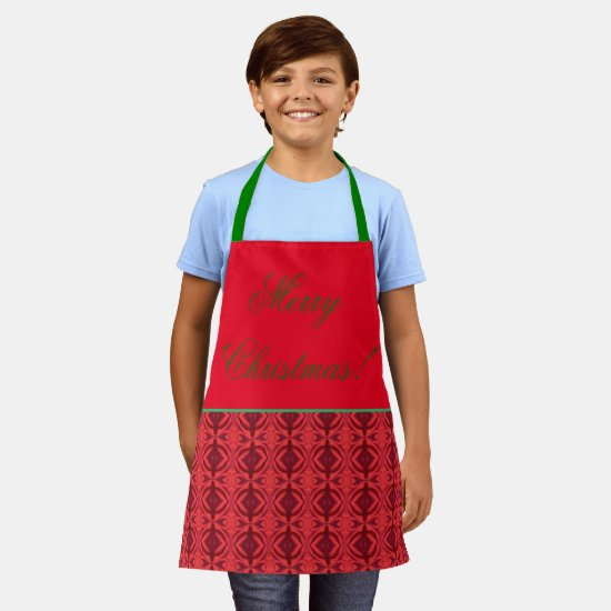 Festive Simple Classic Red and Black  Apron
