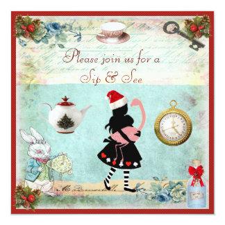 "Festive Sip & See Alice & Flamingo Baby Shower 5.25"" Square Invitation Card"