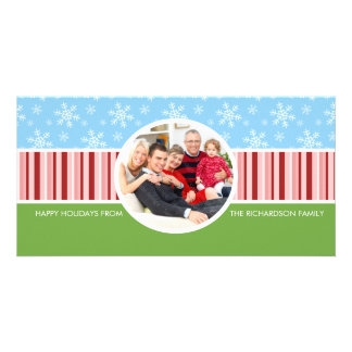 Festive Snow Fall Holiday Family Photo Cards