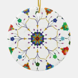 Festive Snow Flake Ceramic Ornament