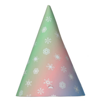 Festive Snowflake and Pastel Striped Party Hat