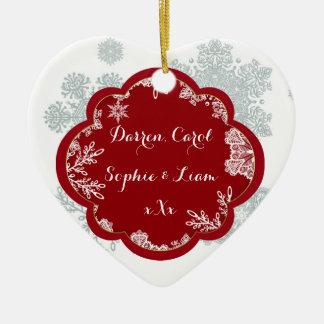 Festive Snowflake Custom Heart Ornament