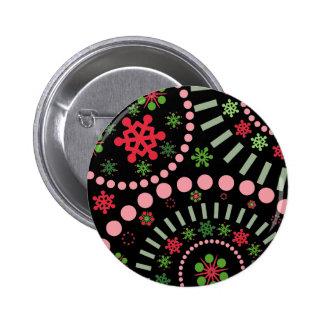 Festive Snowflake Flurry Black Pinback Button