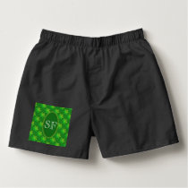 Festive Snowflake Green and Gold Monogram Boxers