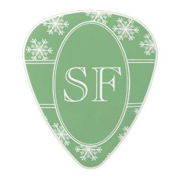 Festive Snowflake Green & White Monogram Polycarbonate Guitar Pick by photoplanetstudio at Zazzle