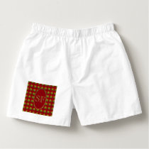 Festive Snowflake Red Gold Green Monogram Boxers