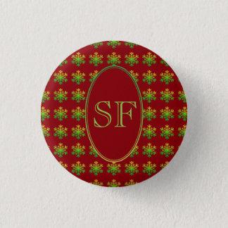 Festive Snowflake Red Gold Green Monogram Button