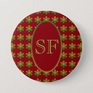 Festive Snowflake Red Gold Green Monogram Pinback Button