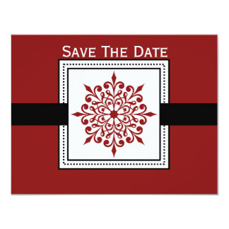 Festive Snowflake Red Save The Date Cards