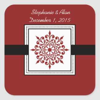 Festive Snowflake Red Wedding Stickers
