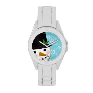 Festive Snowman and Snowflakes Holiday Watch