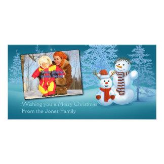 Festive Snowmen Photo Card