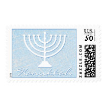 Festive Sparkle Custom HANUKKAH MENORAH Holiday Postage