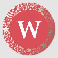 Festive Sparkling Florals   Holiday Monogram Classic Round Sticker