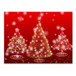 Festive Sparkling Merry Christmas Trees Postcard