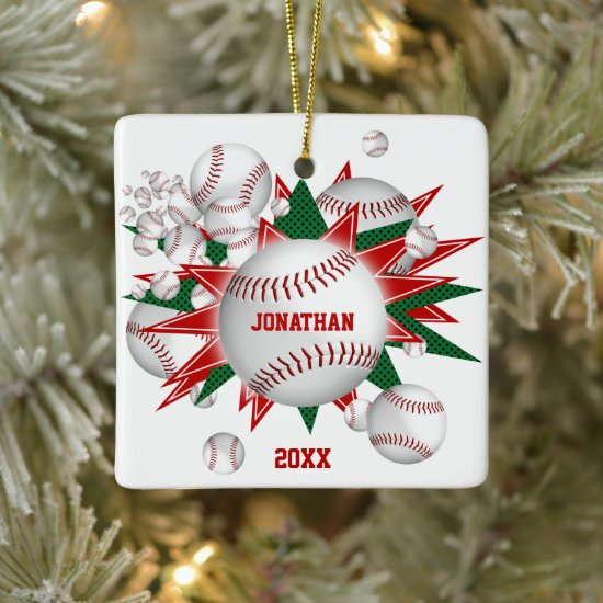 festive sports red green baseball softball blowout ceramic ornament