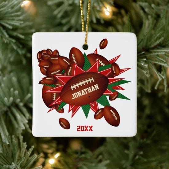 festive sports red green football blowout ceramic ornament
