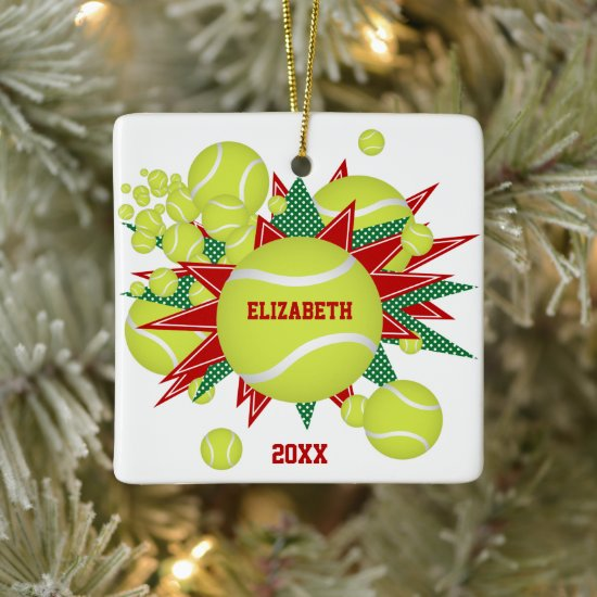 festive sports red green tennis ball blowout ceramic ornament