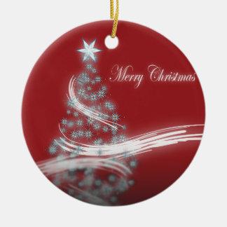 Festive Star Chic Christmas Evergreen Ceramic Ornament