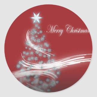 Festive Star Chic Christmas Evergreen Classic Round Sticker
