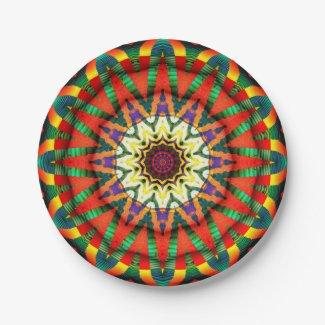 Festive Star Fractal Design Paper Plates