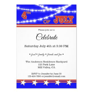 Festive Star Lights 4th of July Party Invitation