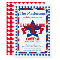 Festive Stars and Stripes Patriotic Labor Day BBQ Card