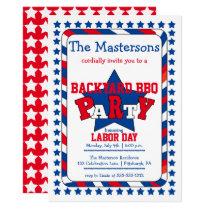 Festive Stars and Stripes Patriotic Labor Day BBQ Invitation