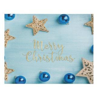 Festive Stars Baubles Merry Christmas Glitter Panel Wall Art