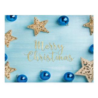 Festive Stars Baubles Merry Christmas Glitter Postcard