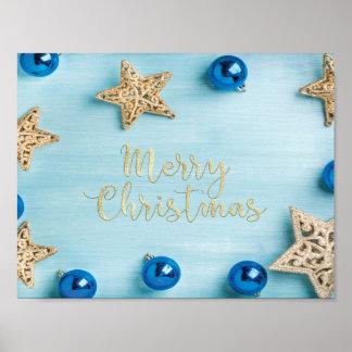 Festive Stars Baubles Merry Christmas Glitter Poster