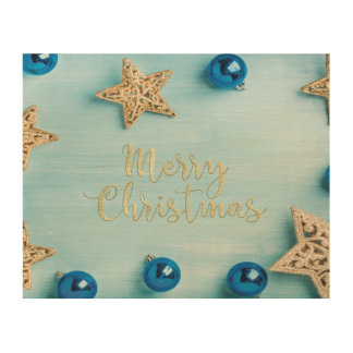 Festive Stars Baubles Merry Christmas Glitter Wood Wall Art