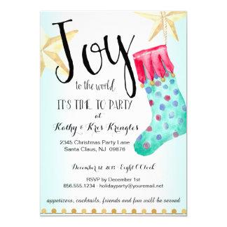 Festive Stocking & Stars Holiday Party Invitation