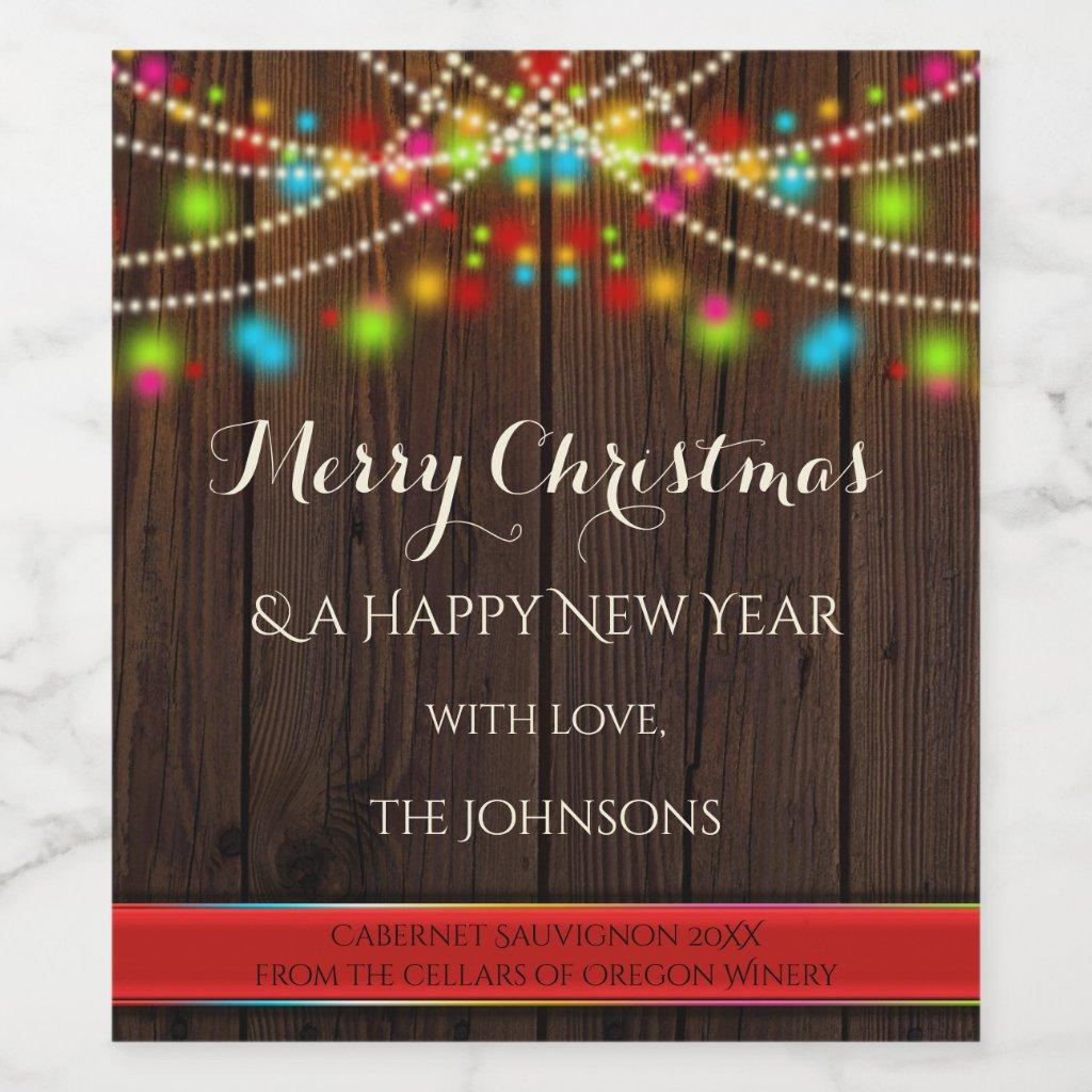Festive String Lights Christmas Wine Label