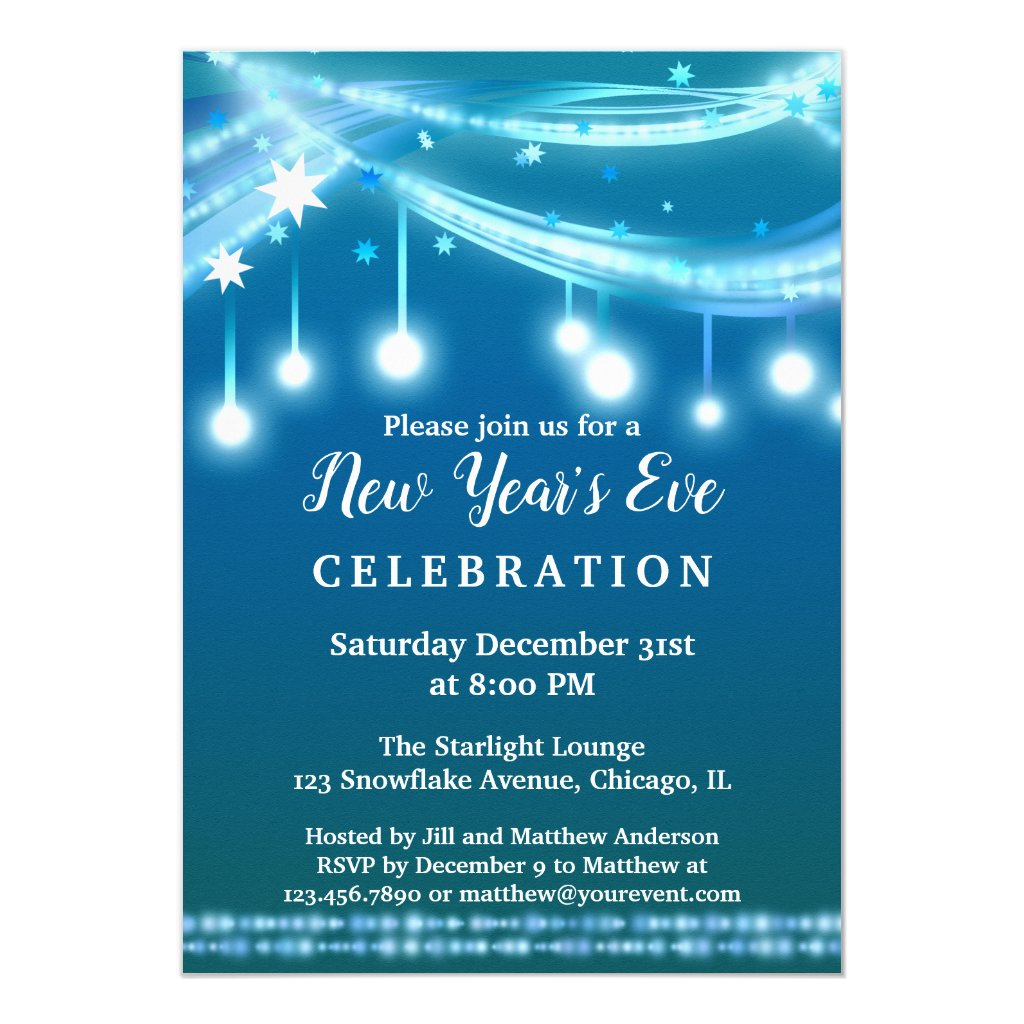 Festive String Lights New Year's Eve Party Invitation