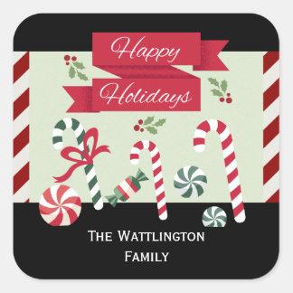 Festive Stripe Candy Happy Holidays Custom Name Square Sticker