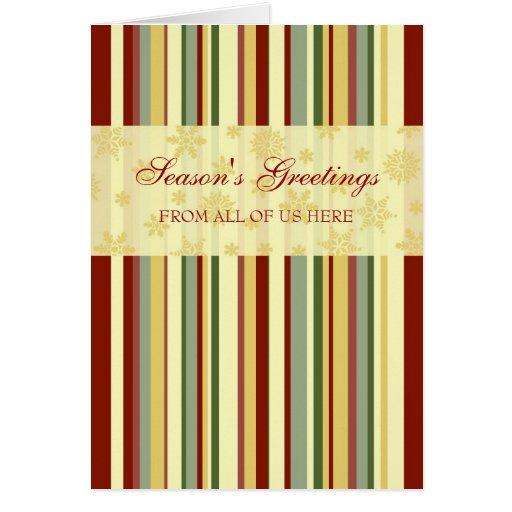 Festive Stripes Customers Season's Greetings Card