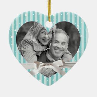 Festive Stripes Heart Framed Photo with Ribbon Christmas Ornament