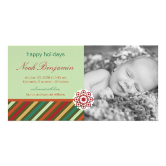 Festive Stripes Holiday Photo Birth Announcement