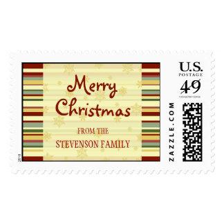 Festive Stripes Merry Christmas Custom Name Stamps