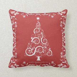 Festive Swirl Christmas Tree Throw Pillow