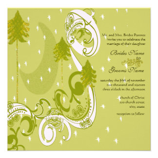 Festive Swirl Moon Tree Square Wedding Invitation