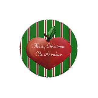 Festive Teacher's Heart Apple Candy Tin