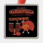Festive 'Thanksgivukkah' Square Metal Christmas Ornament