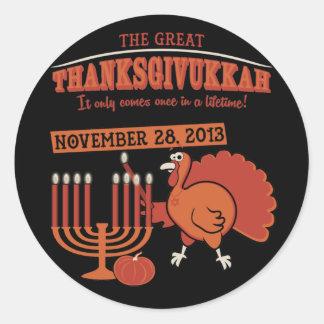 Festive Thanksgivukkah Round Sticker