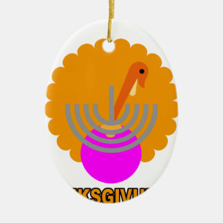Festive 'Thanksgivukkah' Tshirts K.png Double-Sided Oval Ceramic Christmas Ornament
